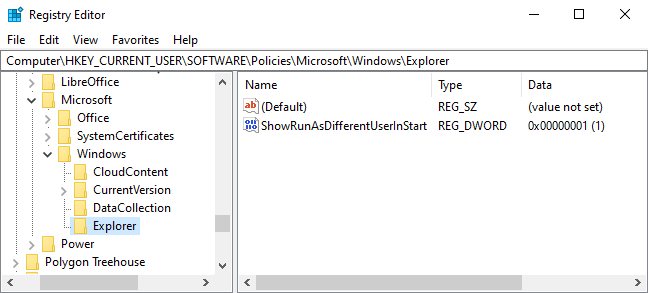 Viewing the Explorer subkey in the registry editor