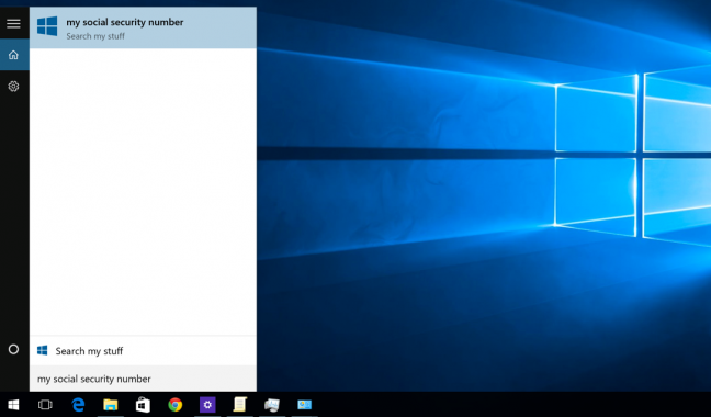 Windows 10 Start menu search showing only local results
