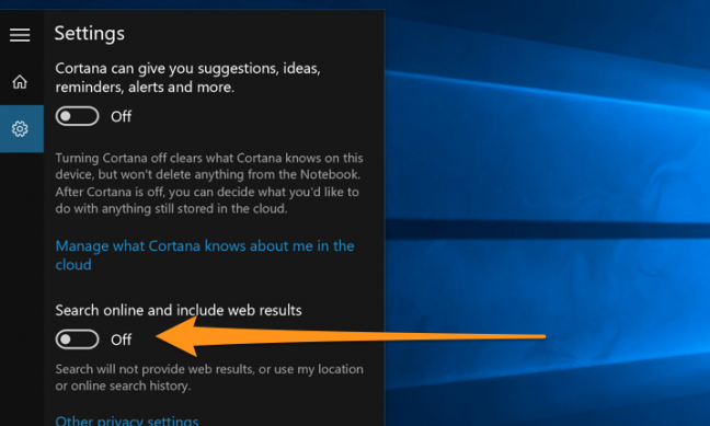 The option to disable web search results in the original version of Windows 10